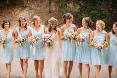 Baby blue bridesmaid dresses.