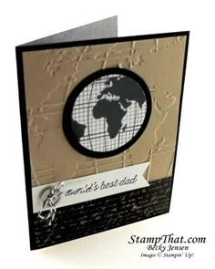 card globe world travel journey - Stampin' Up! Going Global Stamp Set - card for men - neutral colours Masculine Birthday Cards, Birthday Cards For Men, Masculine Cards, Stampin Up Karten, Nautical Cards, Travel Cards, Stamping Up Cards, Fathers Day Cards, Cute Cards