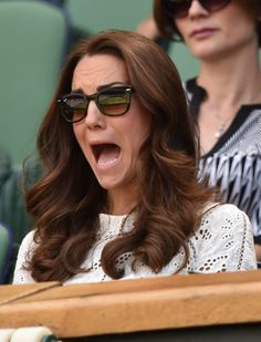 Pin for Later: They've Got Spirit! 50+ Pictures of Stars Freaking Out at Sports Games  Kate Middleton had a look of shock on her face while watching a match during Wimbledon in July 2014.