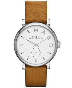Marc by Marc Jacobs Watch, Women's Baker Mocha Textured Leather Strap 37mm MBM1265 - Marc by Marc Jacobs - Jewelry & Watches - Macy's