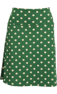 Vintage inspired summer skirt with dots in green - King Louie SS2014
