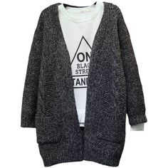 Knit Pocket Thick Casual Loose Long Sleeve V-Neck Cardigan (287.920 VND) ❤ liked on Polyvore featuring tops, cardigans, long sleeve v neck cardigan, loose fitting tops, v neck cardigan, patterned cardigan and print cardigan