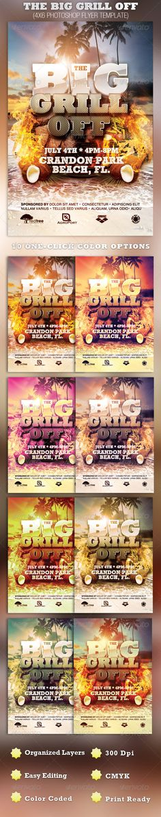 The Big Grill Off Flyer Template — Photoshop PSD #beach party #fall • Available here → https://graphicriver.net/item/the-big-grill-off-flyer-template/2353519?ref=pxcr