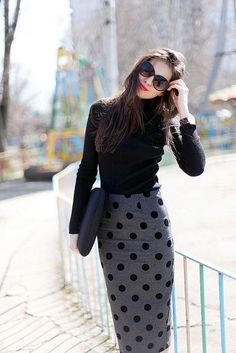 Polka-Dot Pencil Skirt... I think I might starve myself to wear this! LOVE IT.