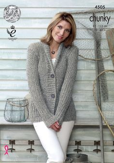 Knitted cardigan pattern Authentic Chunky. Soft marl shade - King Cole