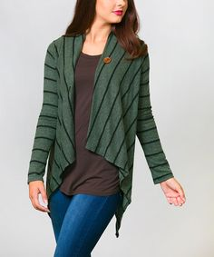 Look at this #zulilyfind! Olive Stripe Single-Button Cardigan #zulilyfinds