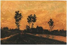 Landscape at Sunset - Vincent van Gogh . Created in Nuenen in April, Located at Private collection. Find a print of this Oil on Canvas Painting Vincent Van Gogh, Van Gogh Art, Art Van, Desenhos Van Gogh, Van Gogh Landscapes, Landscape Paintings, Van Gogh Paintings, Post Impressionism, Famous Art
