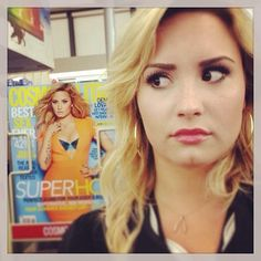 Haha Demi had an awkward encounter with herself at CVS.