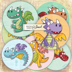 Little Dinosaur  2.5 inch circles  set of 12  by bydigitalpaper