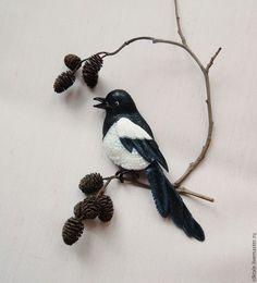 Купить Брошь птица Сорока Украшение из кожи Брошь из кожи Синяя птица Птичка