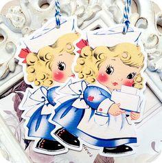 Vintage Nurse Girl Tags - Set of 6 - Cottage Shabby Chic