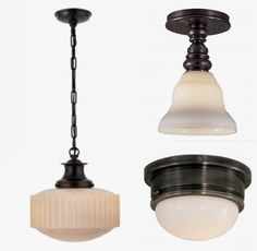 the above trio.  It's the Milton Road pendant, the Boston Single Flush Mount and the Marine flush mount, all from Circa.