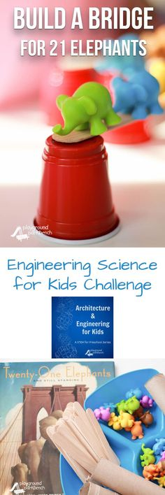 Do you know the story of the Brooklyn Bridge? This fun book for kids tells the tale featuring PT Barnum, a circus and 21 elephants. It also inspired this week's Engineering Science for Kids challenge - build a bridge to hold 21 elephants! A great STEM