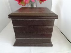 Great Fathers Day Gift Brown Leather or Faux Leather with White Stitching Jewelry Box with Measures over 7 x 6 x 6 because of the top  by CCCsVintageJewelry on Etsy