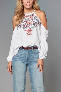 White Cold Shoulder Long Sleeves Embroidery Blouse  -YOINS