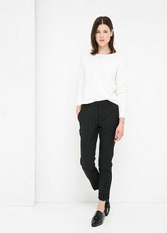 Pantalón lana cuadros - Pantalones de Mujer | MANGO