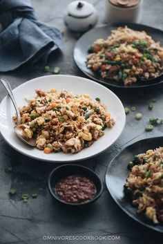 A quick and delicious way to get dinner on the table fast, this savory pork fried rice hits all the right notes with great flavors and textures and tastes better than takeout. {Gluten-Free Adaptable}