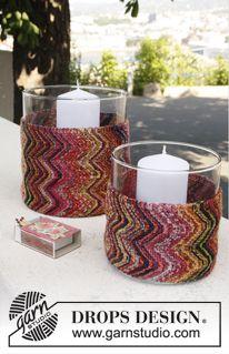 """Siksak-raidallinen DROPS lasimaljakon päällinen """"Fabel""""-langasta. ~ DROPS Design"""