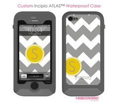 Custom Waterproof Gray Chevron Mustard Yellow Circle - Monogram Personalized  INCIPIO ATLAS iPhone 5 5s Samsung Galaxy S4 #Case by iselltshirts (https://www.etsy.com/listing/159695562/incipio-atlas-iphone-5-5s-samsung-galaxy?ref=shop_home_active_2)