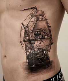 Sailing Ship Tattoo DesignsYou can find Ship tattoos and more on our website. Arrow Tattoos, Leg Tattoos, Body Art Tattoos, Tattoos For Guys, Sleeve Tattoos, White Tattoos, Tattoo You, Back Tattoo, Tattoo Ship
