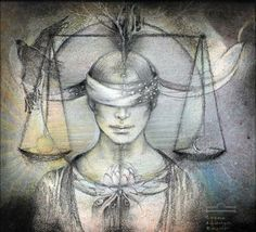 «Libra» or «The Balance», by Susan Seddon-Boulet, 1989 (Turning Point Gallery 2010) -- In this piece the balance is symbolically represented by the Sun and Moon. This is also the time of the harvest. Balance is further represented by the white spirit bird and the dark Earthly bird that wrap the sash over the eyes of Justice. Other imagery includes the Lotus which blooms with sunrise and closes and submerges in the evening. Antlers adorn the central character's head. […]