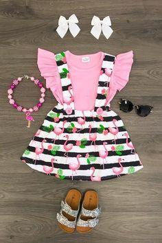 Pink Flamingo Suspender Skirt Set