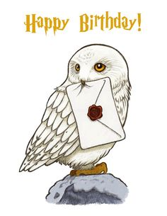 Harry Potter Card Hedwig Card Birthday Card Fun Card