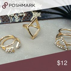 Geometric Midi Ring Set Gold midi ring set Dapper & Dainty  Jewelry Rings
