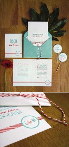 Einladungskarte türkis und rot, Wedding Invitation turquoise and red