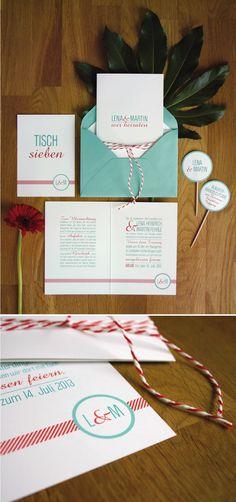 Einladungskarte türkis und rot, Wedding Invitation turquoise and red