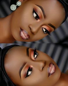 2019 Stunning Makeup Styles for Dark skin Black Bridal Makeup, Makeup For Black Skin, Black Girl Makeup, Dark Makeup, Natural Makeup, Maquillage Black, Maquillage Yeux Cut Crease, Eyebrow Makeup Tips, Contour Makeup