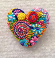 Freeform embroidery heart brooch  Brooch #142