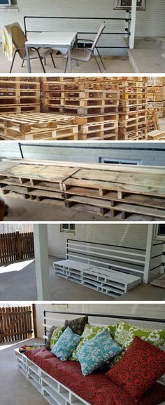 DIY Patio Bench From Pallets. I seriously   need to do this once Jake and I get out own little house!!!