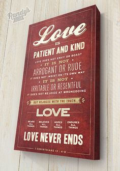 Custom Bible Verse, 1 Corinthians 13:4-8, Christian Art, Pick your colors, Premium Canvas wrapped on solid wood frame