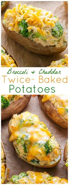 AMAZING FLAVOR! Crispy broccoli and cheddar twice-baked potatoes are comfort food at its best. Click through for the recipe and step-by-step photos. Twiced Baked Potato Recipe, Baked Potato Broccoli Cheese, Baked Potato Fillings, Baked Broccoli Recipe, Frozen Broccoli Recipes, Broccoli And Potatoes, Cheddar Potatoes, Cooking Broccoli, Broccoli Cheddar Chicken