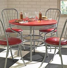 Retro Red Laminate Dining Table W Chrome Plated Base Retro Red Laminate Dining  Table W Chrome