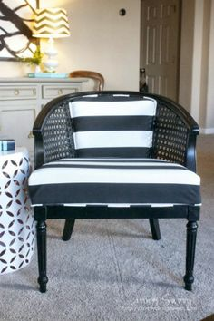 Living Savvy: My House | Black & White Striped Cane Barrel Chair