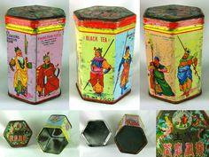 Vintage Black Tea Tin Chinese Emperor Hong Kong Tea Set Brand Collectable Old