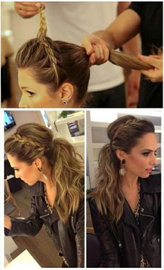 Great messy ponytail and braid! Take only the hair nearest the face while braiding.