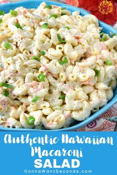Authentic Hawaiian Macaroni Salad is a delicious and unique pasta salad generously dressed in a super creamy dressing that sboth a little tangy and sweet. Hawaiian Salad, Hawaiian Dishes, Macaroni Salads, Creamy Macaroni Salad, Hawaiian Pasta Salads, Pasta Salad Recipes Cold, Hawaiian Food Recipes, Healthy Recipes, Summer Salads