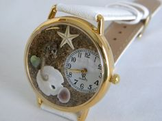 Seahorse Watch with Starfish Abalone Sand Dollar and by srwatches, $33.00