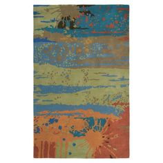 Multicolor wool rug with an abstract motif. Hand-tufted in India.   Product: RugConstruction Material: 100% Wool