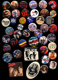 1980s band buttons - I still have all of mine!