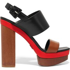 Heel measures approximately inches with a 2 inches platform Brown, black and red leather Buckle-fastening slingback strap Made in Italy As seen in THE EDIT magazine Black Block Heel Sandals, Black Platform Sandals, Black Leather Sandals, Heeled Sandals, Shoes Sandals, Platform Shoes, Black Sandals, Black High Heels, Black Shoes