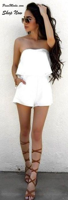 Summer Hot White Romper for Woman / Teens. Shop Online Women/Teens #Jumpsuits…                                                                                                                                                     More