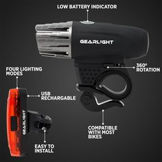 Light Set For Bike USB Rechargeable LED Front Back S300 Safety Light All-Weather #GearLight