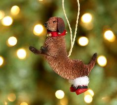 Bottle Brush Standing Doxie Ornament