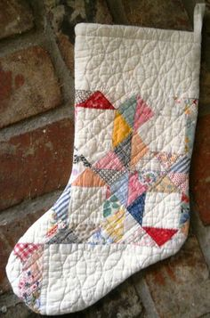 Christmas stocking from an old quilt.                                                                                                                                                                                 More