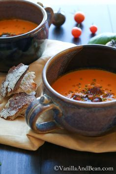 Roasted Red Bell Pepper and Heirloom Tomato Soup | Vanilla And Bean