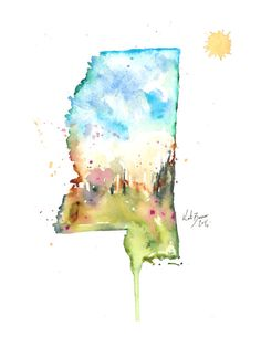 Mississippi Map 8.5 x 11 Print of watercolor by MilkandHoneybread, $20.00